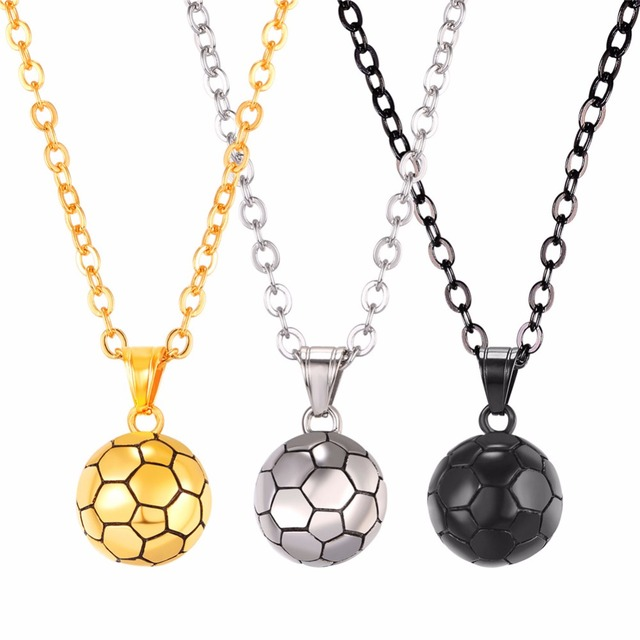 Football necklace pendant with chain stainless steel sport ball football necklace pendant with chain stainless steel sport ball jewelry menwomen sporty soccer necklace mozeypictures Image collections