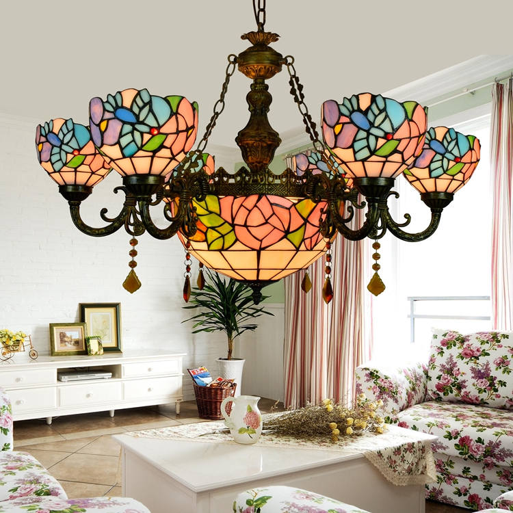 Tiffany Baroque Flesh flower Stained Glass Suspended Luminaire E27 110 240V Chain Pendant lights for Home Parlor Dining Room - 5
