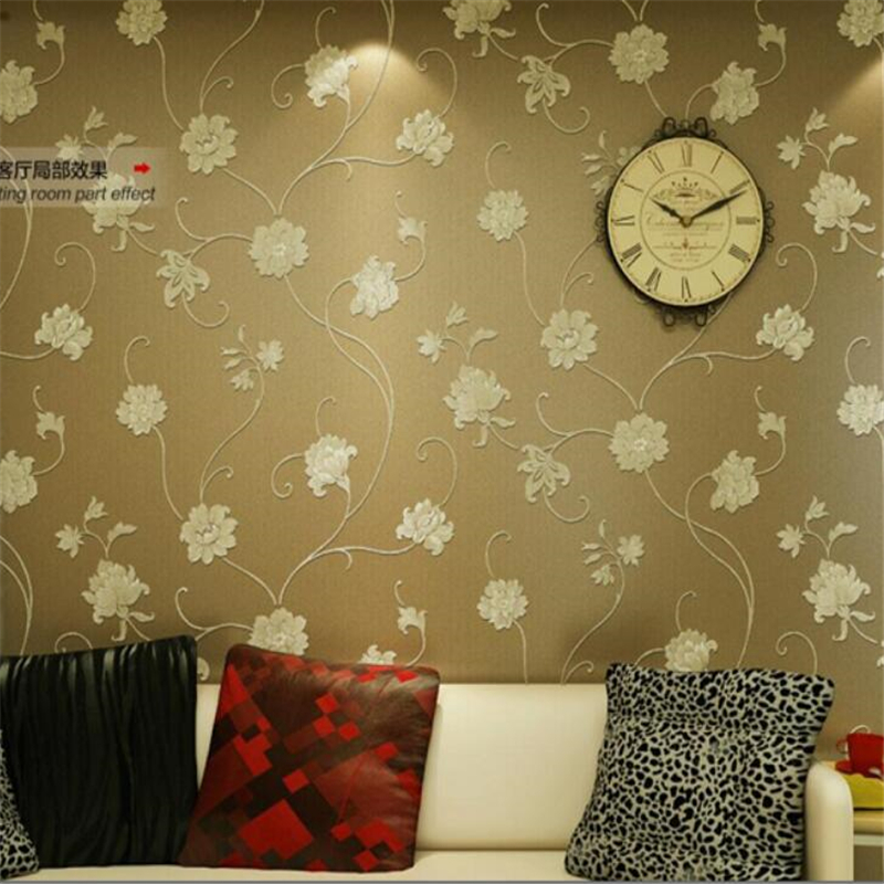 ФОТО Beibehang European  papel de parede simple yarn rattan flower wallpaper bedroom background 3D wallpaper spreading gold wallpaper