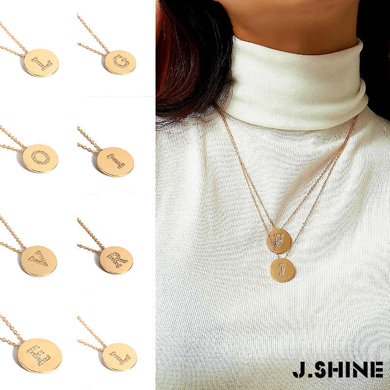 JShine A-Z золото Цвет цепи кристалл алфавит для монет Цепочки и ожерелья Для женщин 2019 Новая мода письмо круглый Колье Длинные гибкое ожерелье