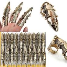 5Pcs/Lot Gothic Punk Hinged Knuckle Joint Full Finger Spike Armor Rings Claw Bulks Wholesale Jewelry(China)
