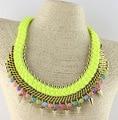 Nuevo Color de europa y ee.uu. grandes moda gargantilla Colorized Lint Wrap Beads resinas Knit collar llamativo joyería de la marca