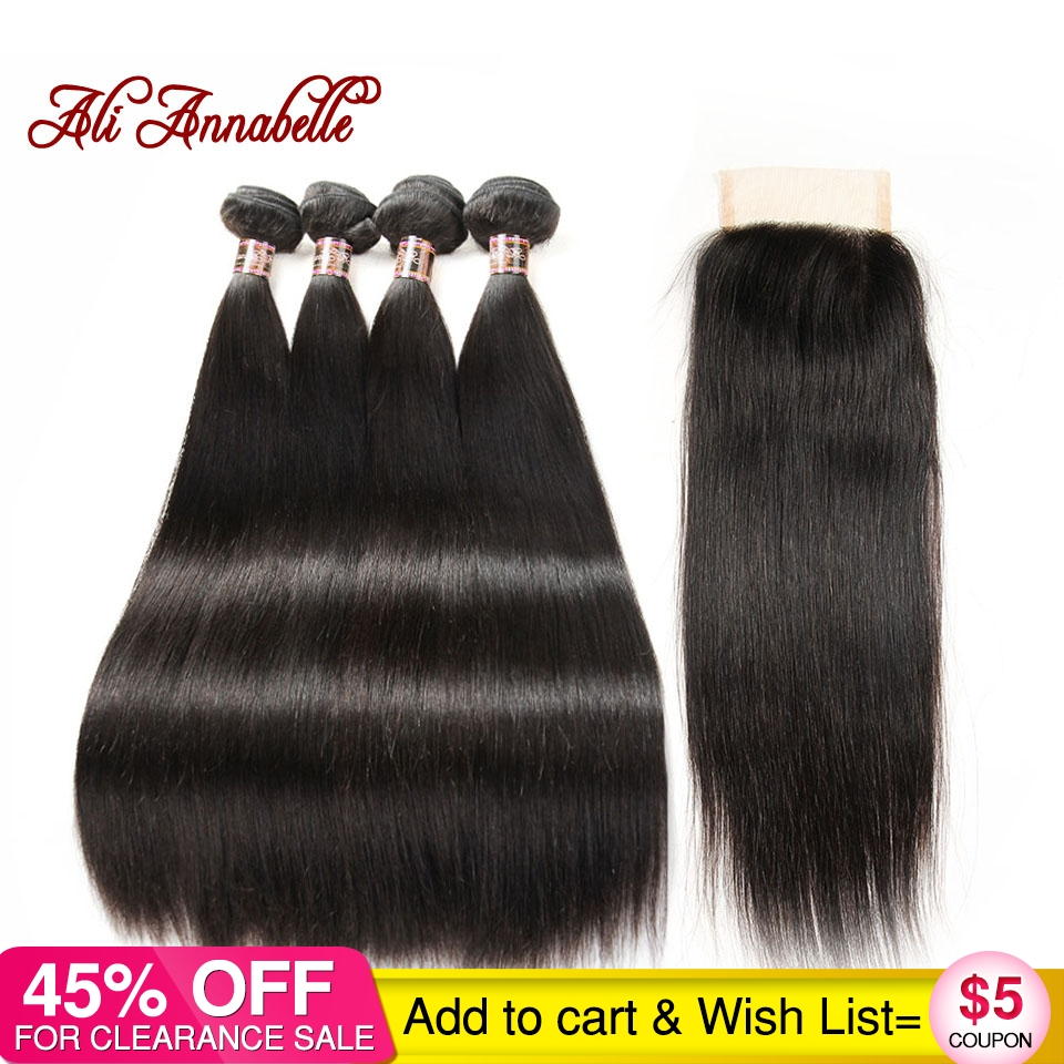 ALI ANNABELLE HAIR 4 Bundles Brazilian Straight Human Hair With Lace Closure Free/Middle Part Natural Black 100% Remy Hair-in 3/4 Bundles with Closure from Hair Extensions & Wigs    1