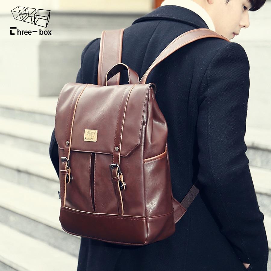2017 Men Leather Backpack High Quality Travel Rucksack School Book Bag Male 14 inch Laptop Business bagpack mochila Shoulder Bag