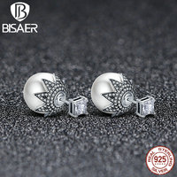 Authentic 925 Sterling Silver Maple Tree Leaf Leaves Women Big Round Ball Stud Earrings Fashion Party