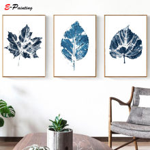 Nordic Wall Art Printable Blue Leaf Canvas Painting Poster Printable Leaves Mid Century Modern Prints Christmas Gift Home Decor(China)