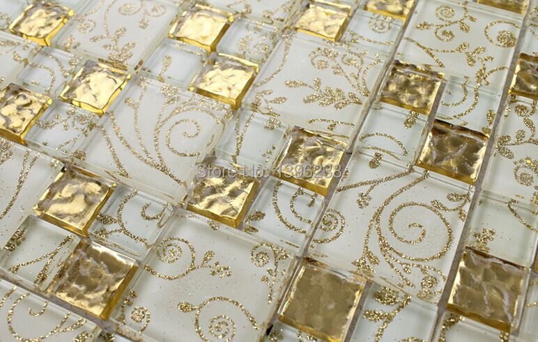 Gold Foil Glass Mosaic Tile Glass Brick Livingroom Glass