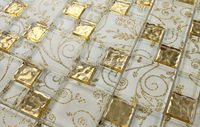 LSTC010 Golden Glass Mosaic Tiles Golden Glass Mosaic For Kitchen Kitchen Backsplash Glass Mosaic