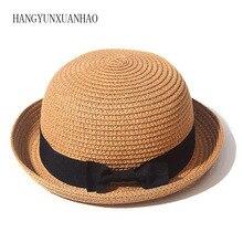 все цены на 2019 Stylish Women Summer Sun Hat Straw Bow Beach Hat Fashion parent-child wide brim hats UV Protection casual Lady Girls Caps онлайн