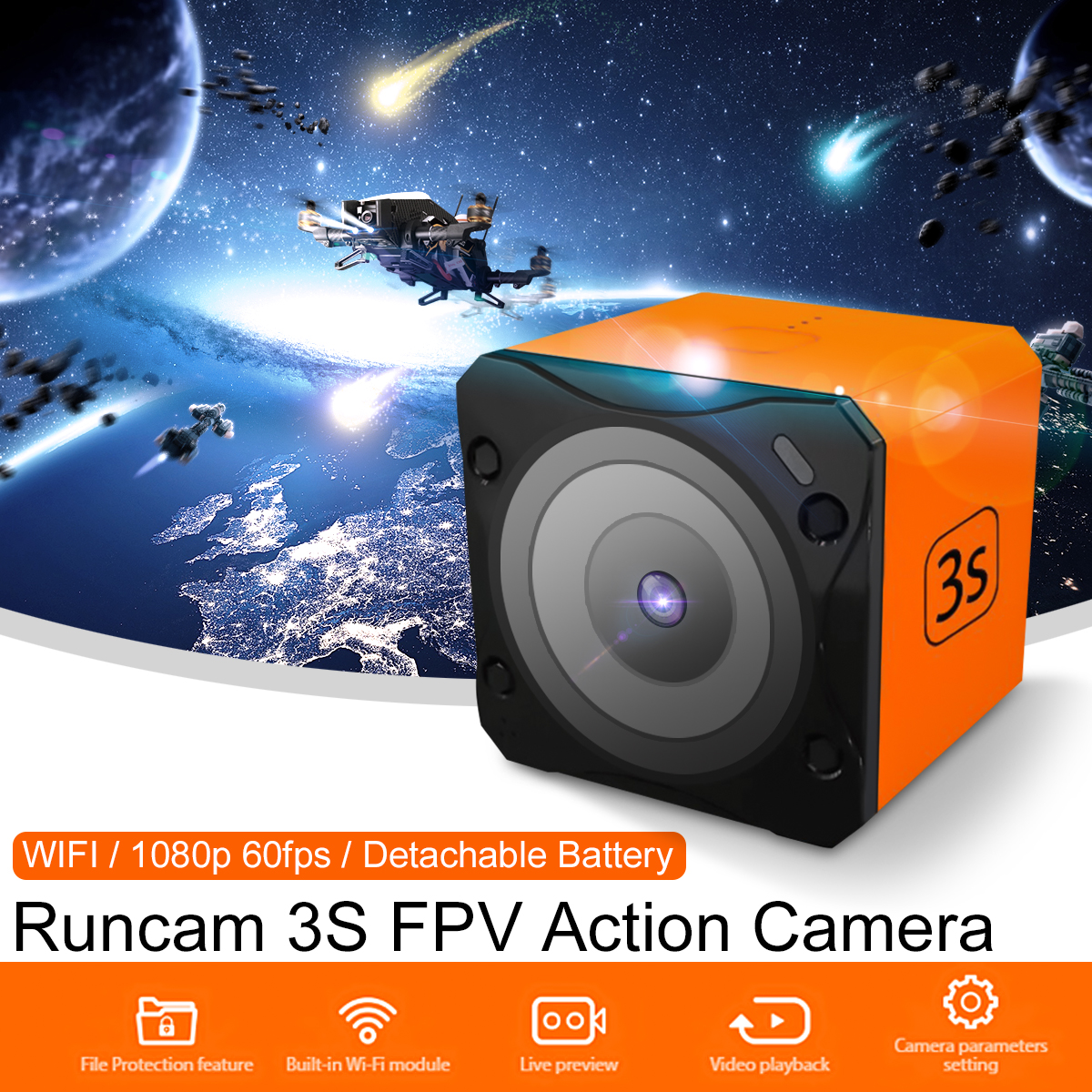 Runcam 3S WIFI NTSC/PAL 1080p 60fps WDR 160 Degree FPV Action Camera Detachable Battery for RC Models VS Runcam3 2018 new runcam 3s ntsc pal wifi 1080p 60fps wdr 160 degree fpv action camera detachable battery for rc racing drone runcam 3