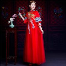 New vintage phoenix pattern royal party dress Chinese style red wedding formal ancient the bride Long-sleeve cheongsam