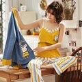 Пижама из хлопка с принтом для беременных  3 шт./компл.  весенне-осенние пижамные комплекты для беременных
