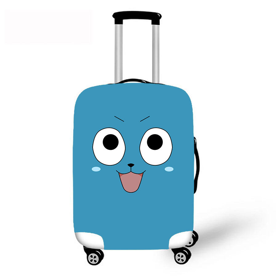 Luggage Protective Case Japan Anime Fairy Tail Happy Waterproof Cover For 18-30 Inch Trolley Suitcase Elastic Travel Rain Covers