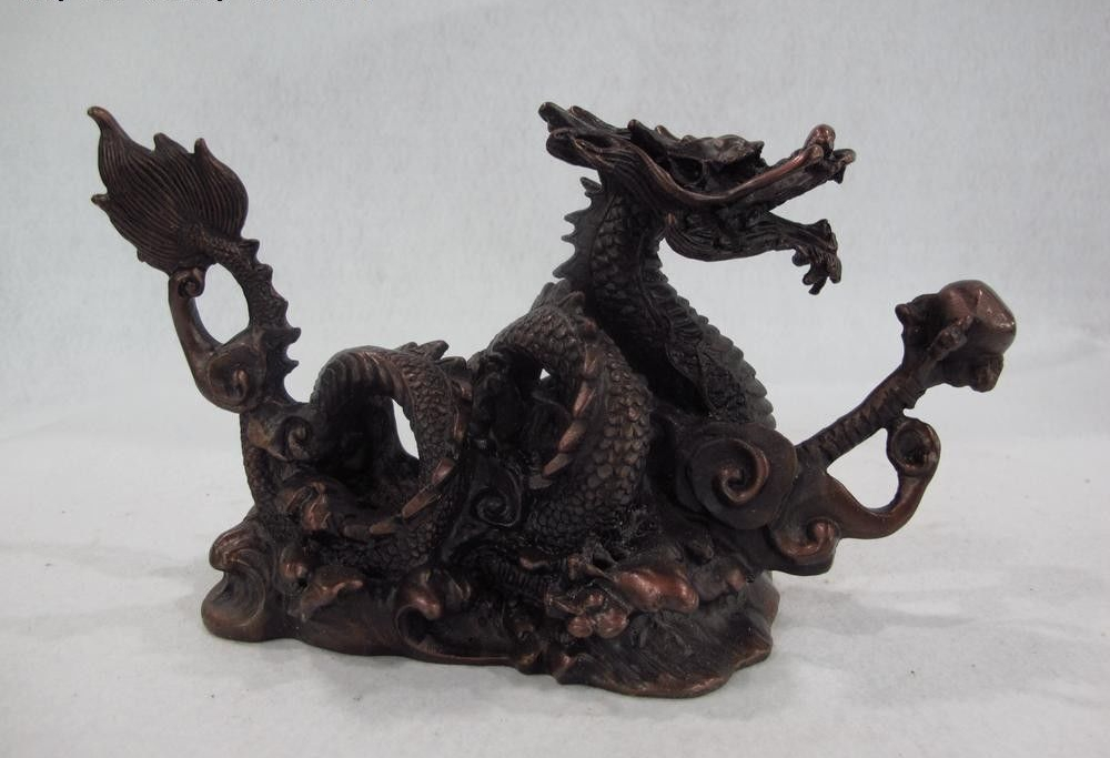 Chinese Royal Red Copper Home Feng Shui Lucky wealth Fly Dragon Play Bead StatueChinese Royal Red Copper Home Feng Shui Lucky wealth Fly Dragon Play Bead Statue