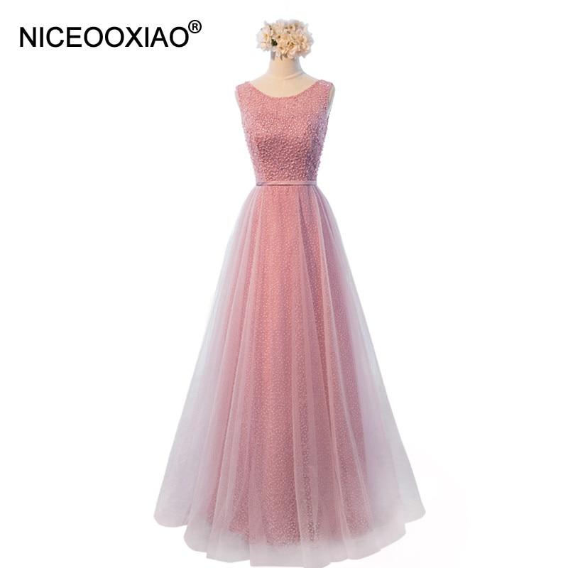NICEOOXIAO Vestido De Fest 2018 Anko Rosa Perlen Sexy Backless Lange Abendkleider Braut Formelle Bankett Robe Abendkleid