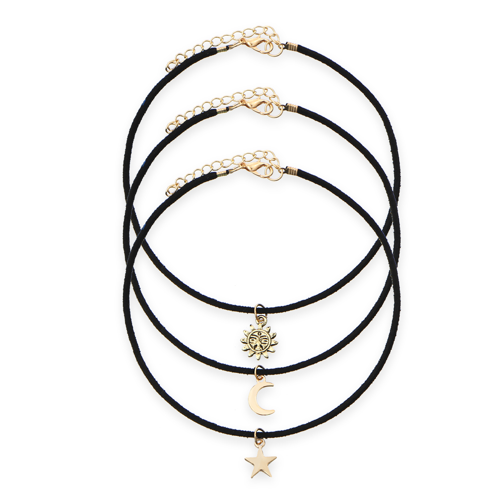 IF ME New Punk Gothic Black Leather Rope Multilayer Necklaces Moon Star Sun Collar Chokers Boho Jewelry For Women Girls Bijouxs