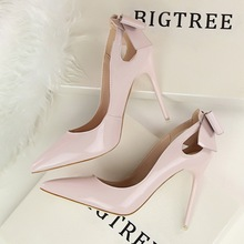 New summer Spring Elegant Pumps Sexy High-heeled Shoes Bow Patant Leather Thin High Heels Shallow Pointed Hollow Shoes G3168-8