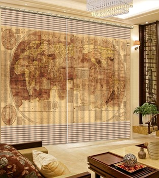 world map 3d curtains for living room bedroom Modern Curtains window Home Decoration