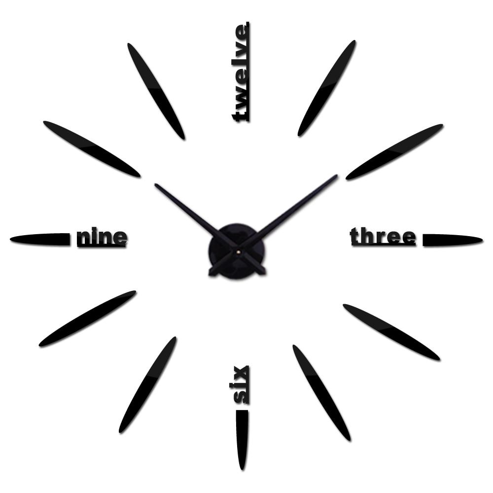 New fashion 3d wall clock reloj de pared quartz watch brief diy clocks living room large stickers decorative horloge murale Wall Clocks     - title=