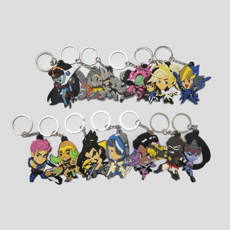 2018 Nouveau Overwatch Pendentif Porte-clés Mignon de Bande Dessinée porte-clés avec pvc souple 13 styles Bijoux cadeaux souvenirs porte-clés
