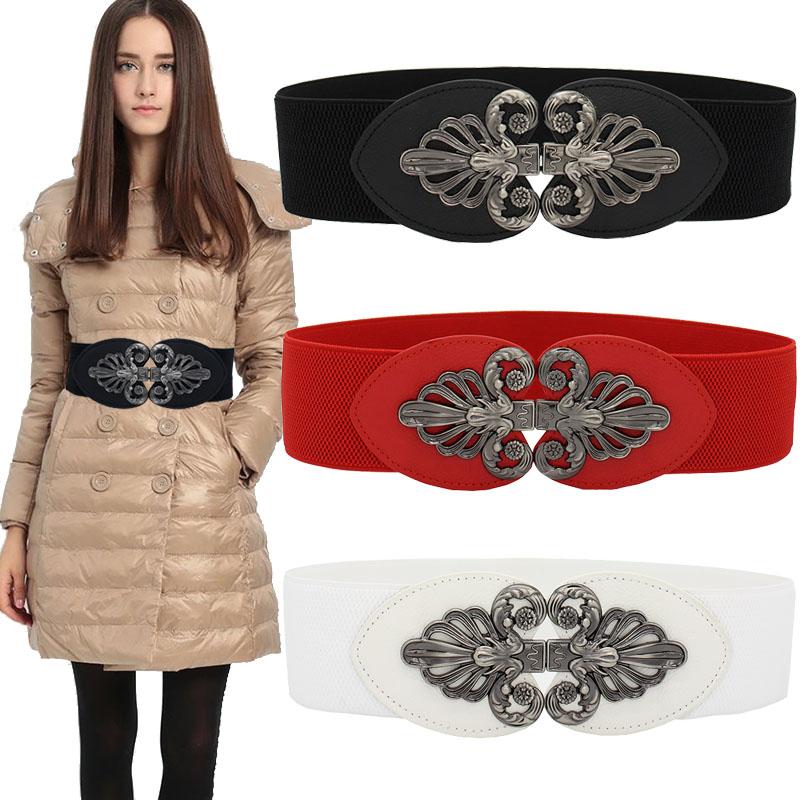 Beauty Elastic Waistband Female Decorate Dress Wide Belt Ladies Retro Wild Women Cummerbund Brown Black Buckle Corset Red Beige