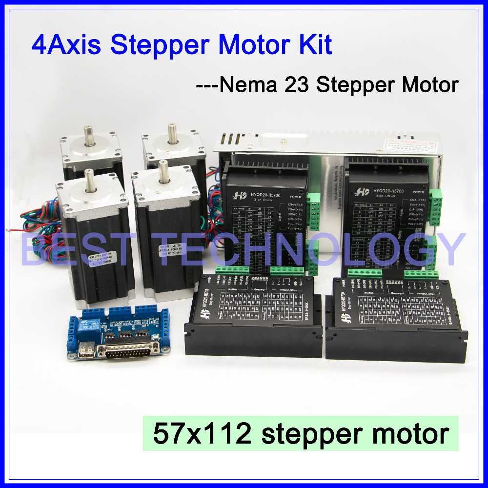 Buy 4axis cnc controller kit 4pcs nema23 for Cnc stepper motor controller
