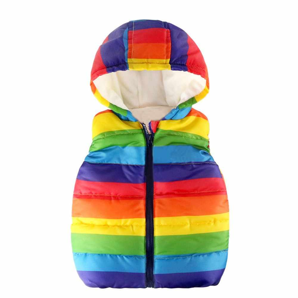 Toddler Kids Baby Grils Boys Sleeveless Strip Rainbow Hooded Warm Waistcoat Tops Unisex Striped Hooded Coat 827