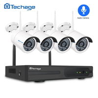 Techage 4CH 1080P Wireless NVR Kit Wifi CCTV System Outdoor Audio Record Sound Wifi IP Camera