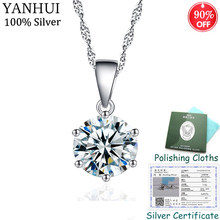 90% OFF! Have Certificate! Real Original 925 Solid Silver Pendant Necklace Luxury 8mm CZ Diamant Drop Necklace Women Jewelry N32(China)