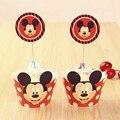 24 unids Mickey Mouse Envolturas de La Magdalena, Envoltura De Papel copa de pastel Muffin y Acolchados Niños Cumpleaños Party Decoration Supplies B077