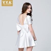 British Summer Vintage Sexy Backless Bow Princess Dress Ladies Slim Fit High Waist White Party Vestidos OL Womens Evening Robe