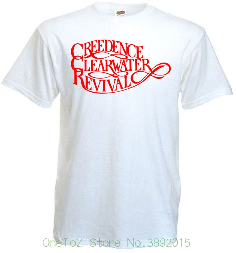 Adult 100% Cotton Customized Tees Creedence Clearwater Revival T-shirt White Poster All Sizes S...5xl