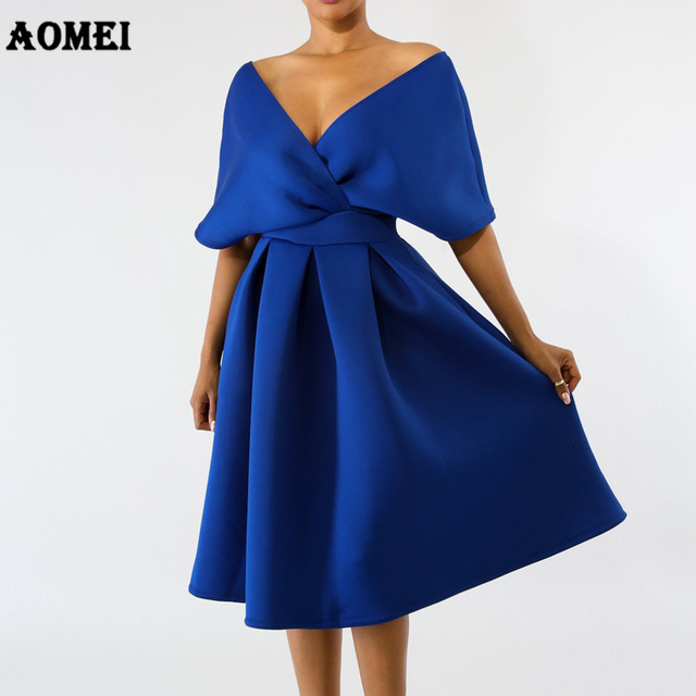 44377f2fbf3e9 US $19.83 35% OFF|Women Swing Dress Backless Pleated Elegant Party Wear  Deep V Neck Blue White Black Classy Vestido Fashion Summer Dresses  Clothes-in ...