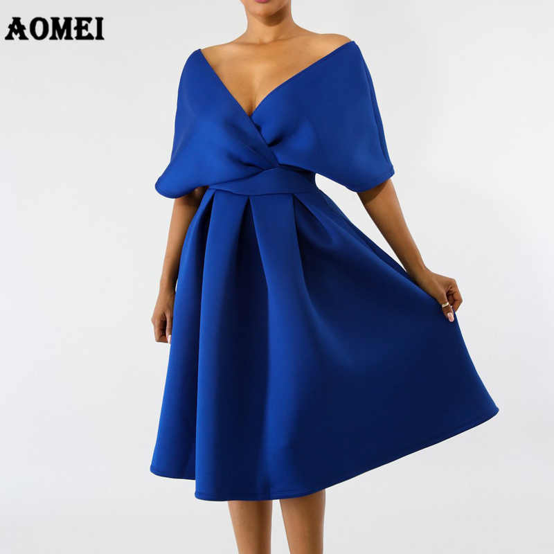168b0138490a Women Swing Dress Backless Pleated Elegant Party Wear Deep V Neck Blue  White Black Classy Vestido