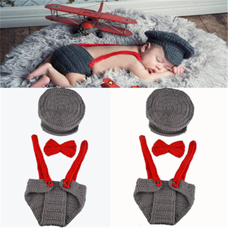 Baby Knitted Set Photography Props Studio Shoot Accessories Hat Underpants C#P5