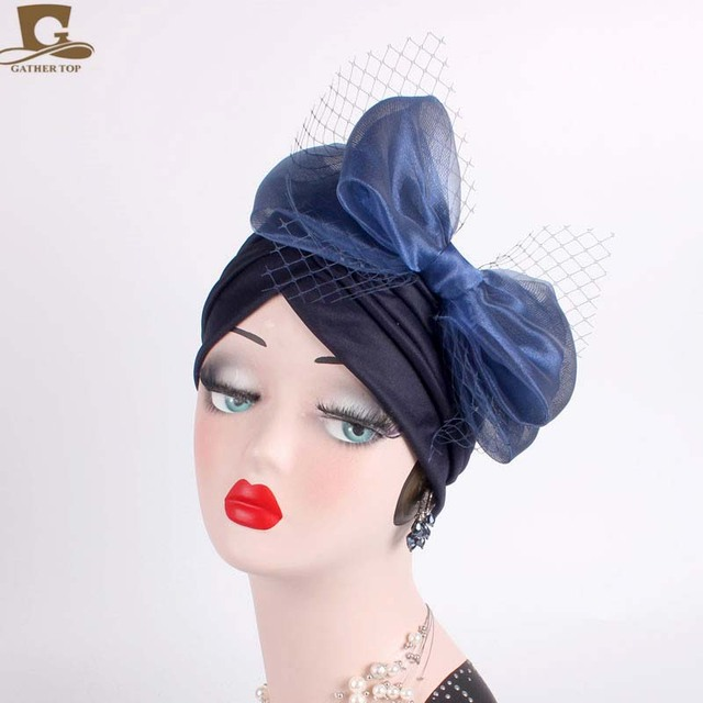 NEW Fascinators Hats Women Ruffle Turban Headwear With Big Veil Bowknot  Cocktail Wedding Tea Party Hat 79b98ca0798f