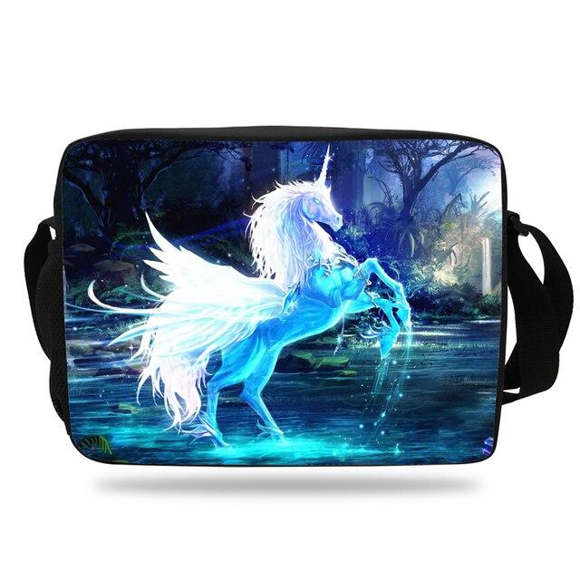9106cfb976a9 Animal prints Unicorn Pegasus Messenger Bag For Girls Crossbody School Bag  Purple High School Boys and Women Teenagers