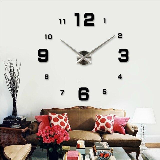 ビッグ サイズ diy壁時計、大型サイズ の簡単な 、 シンプル な ミラー デジタル数字ウォール ステッカー時計、 ユニーク な家の装飾の装飾モダン デザイン