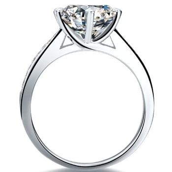 Solid Platinum Side gem studded 2CT Moissanite Diamond Engagement Ring 2