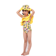 Little Girls One-piece Floral Off-Shoulder Swimsuit+Hat Baby Girl Beachwear Bathing Suit  Swimwear Swimmers Costume Clothing