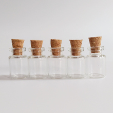 100pcs/lot 0.5ml mini glass bottle 13*18*6mm diameter 13mm Clear with cork small Essential oil