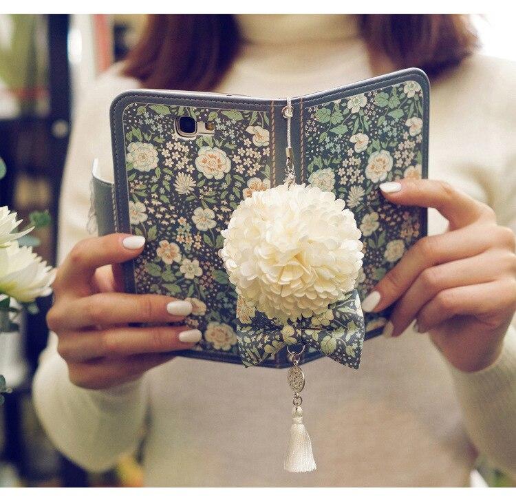 bilder für Dower Mich Jasmin Blume Flip Brieftasche Handtasche Ledertasche Für iPhone 7 6 6 S Plus 5 S Samsung Galaxy Note 5 4 S8 S7 S6 Rand Plus