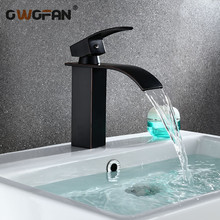 Modern Basin Faucets Bathroom Waterfall Sink Mixer Taps Brass Single Handle Faucet Black Bronze Tap Hot and Cold Water Crane 351 цена