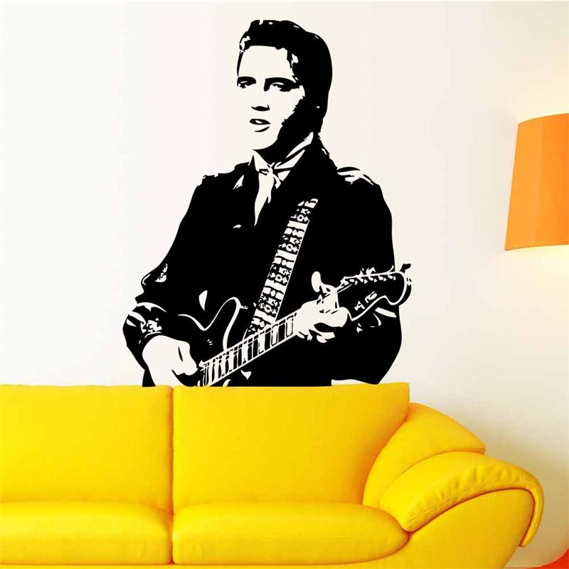 handsome Elvis Presley play guitar wall decals for living room home ...