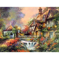 Diamond Painting Cross Stitch Landscape Scenic Diamond Crystal Square Unfinished Full 5D Diamond Embroidery Icon Houses