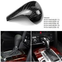 Gear Shift Knob Head Cover Carbon Fiber Sticker Trim For Audi A6 A6L A4 A4L A5 Q5 Q7 Left Hand Drive