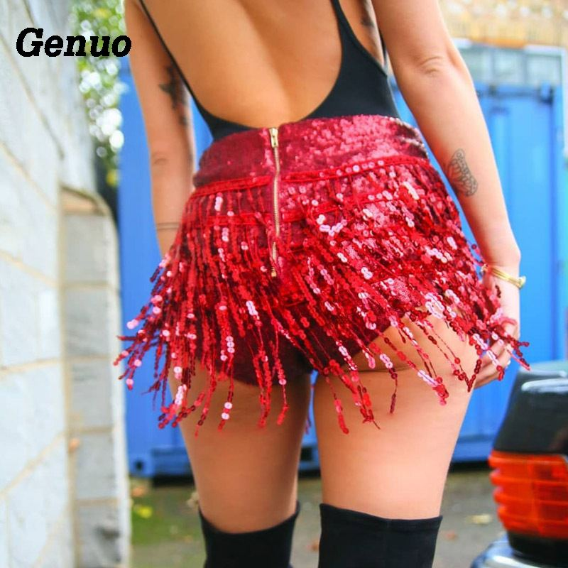 Genuo Sequined Tassel Shorts Women Summer Back Zipper Sexy Clubwear Sexy High Waist Skinny Short Party Clothes шорты женские