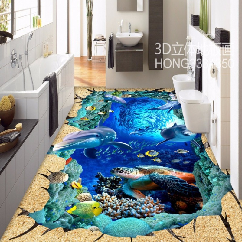 Free shipping 3d sea world street park floor painting for Aquarium decoration paint