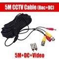 5 м BNC Видео Мощность Сиамские DC подключите Продлить Кабель для Наблюдения CCTV Камеры Аксессуары Длина 5 м футов Power video кабель