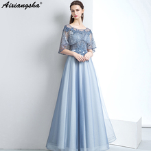 aixiangsha Scoop Long Prom Dresses 2018 Floor-Length